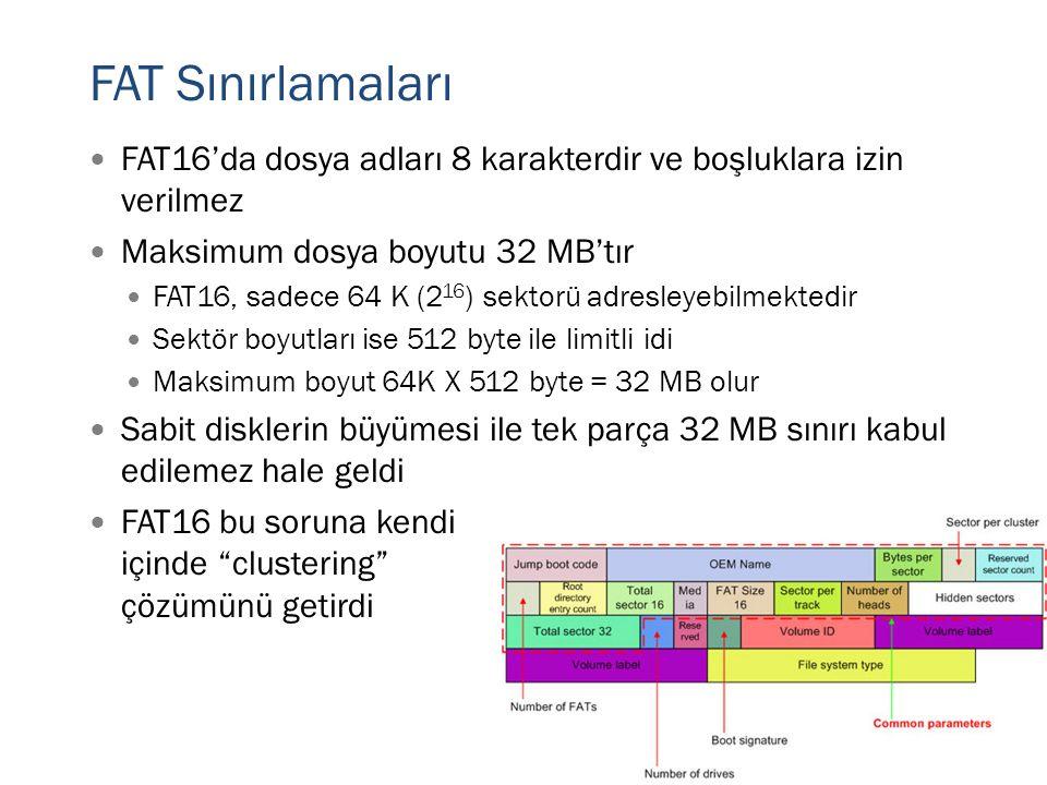 FAT Sınırlamaları FAT16'da dosya adları 8 karakterdir ve boşluklara izin verilmez. Maksimum dosya boyutu 32 MB'tır.