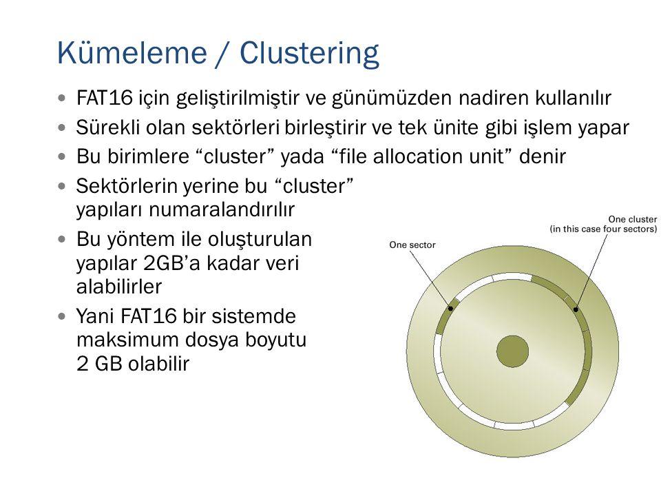 Kümeleme / Clustering FAT16 için geliştirilmiştir ve günümüzden nadiren kullanılır.