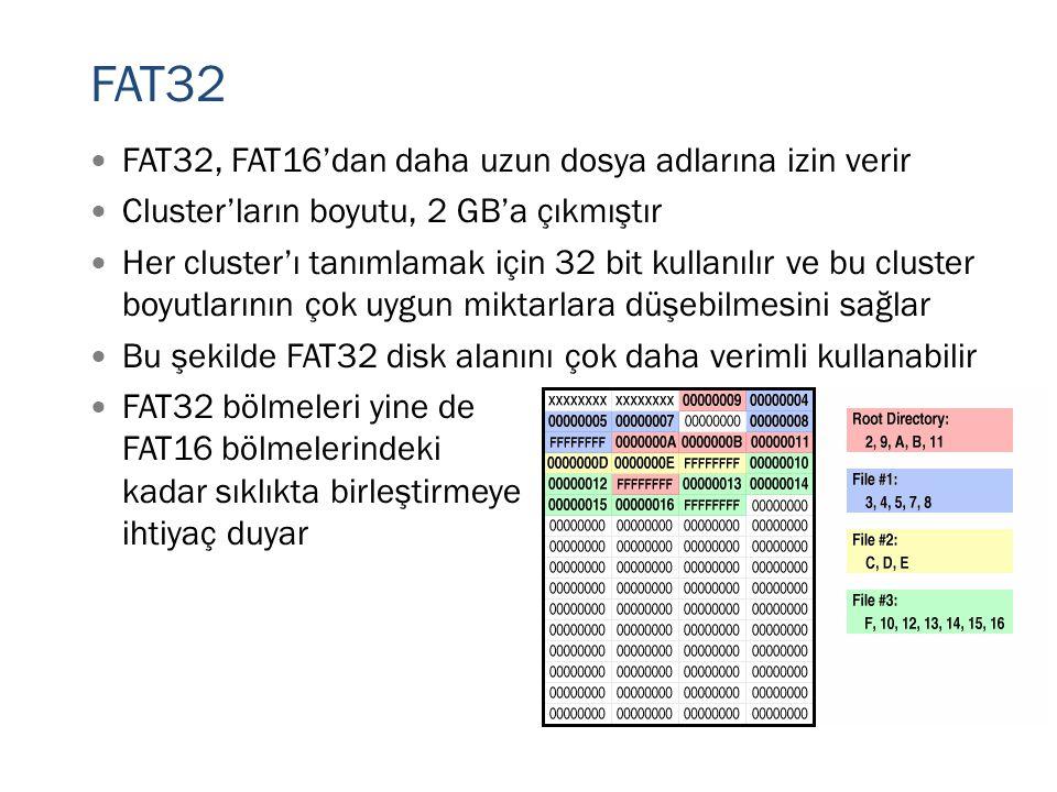 FAT32 FAT32, FAT16'dan daha uzun dosya adlarına izin verir