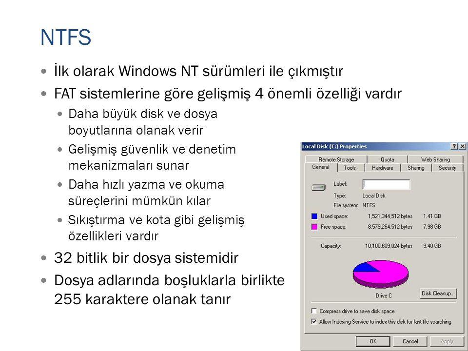 NTFS İlk olarak Windows NT sürümleri ile çıkmıştır