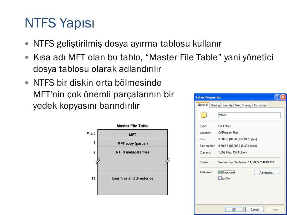 NTFS Yapısı NTFS geliştirilmiş dosya ayırma tablosu kullanır