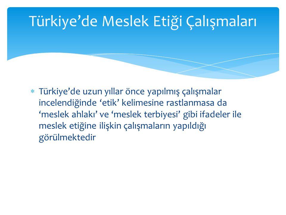 Türkiye'de Meslek Etiği Çalışmaları