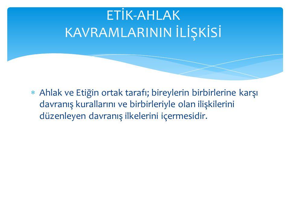 ETİK-AHLAK KAVRAMLARININ İLİŞKİSİ