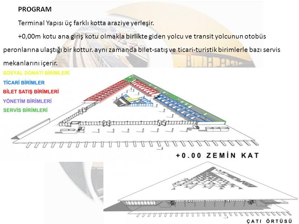 PROGRAM Terminal Yapısı üç farklı kotta araziye yerleşir.