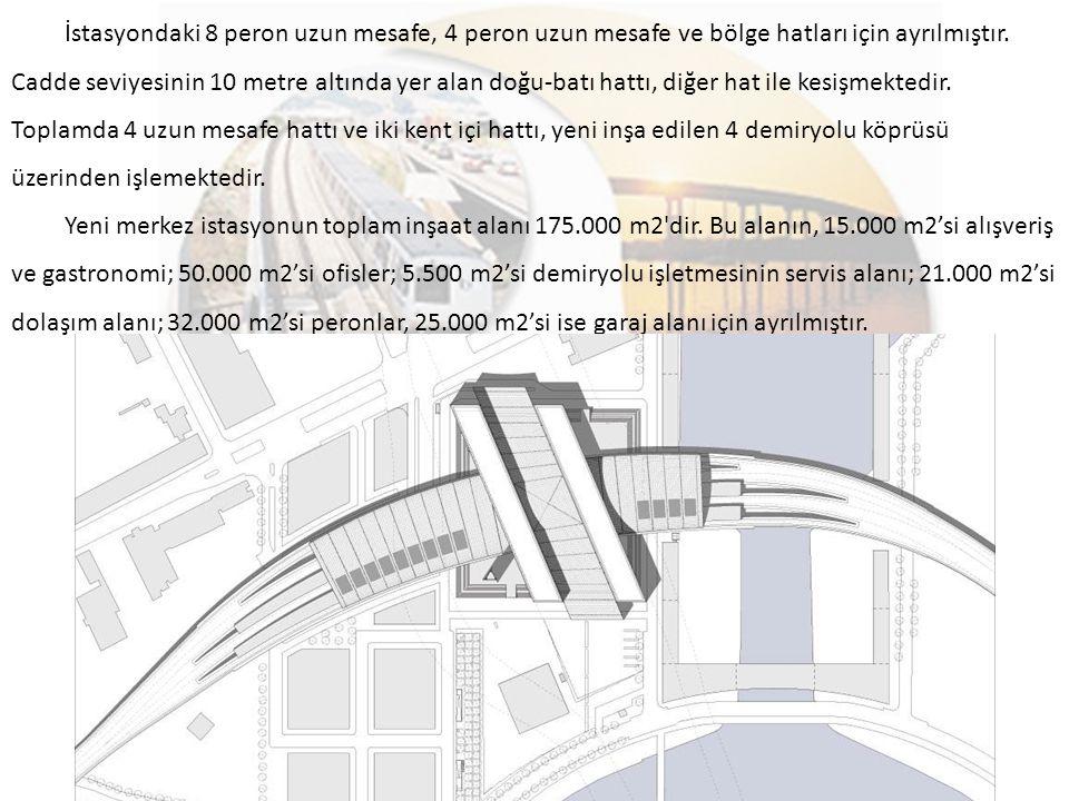 İstasyondaki 8 peron uzun mesafe, 4 peron uzun mesafe ve bölge hatları için ayrılmıştır. Cadde seviyesinin 10 metre altında yer alan doğu-batı hattı, diğer hat ile kesişmektedir. Toplamda 4 uzun mesafe hattı ve iki kent içi hattı, yeni inşa edilen 4 demiryolu köprüsü üzerinden işlemektedir.