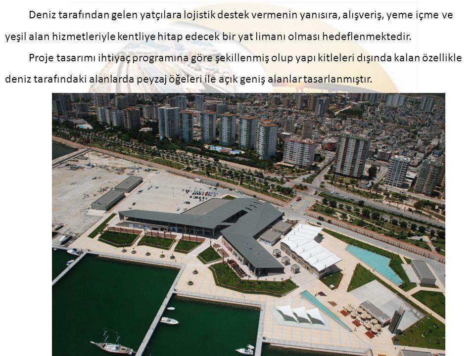 Deniz tarafından gelen yatçılara lojistik destek vermenin yanısıra, alışveriş, yeme içme ve yeşil alan hizmetleriyle kentliye hitap edecek bir yat limanı olması hedeflenmektedir.