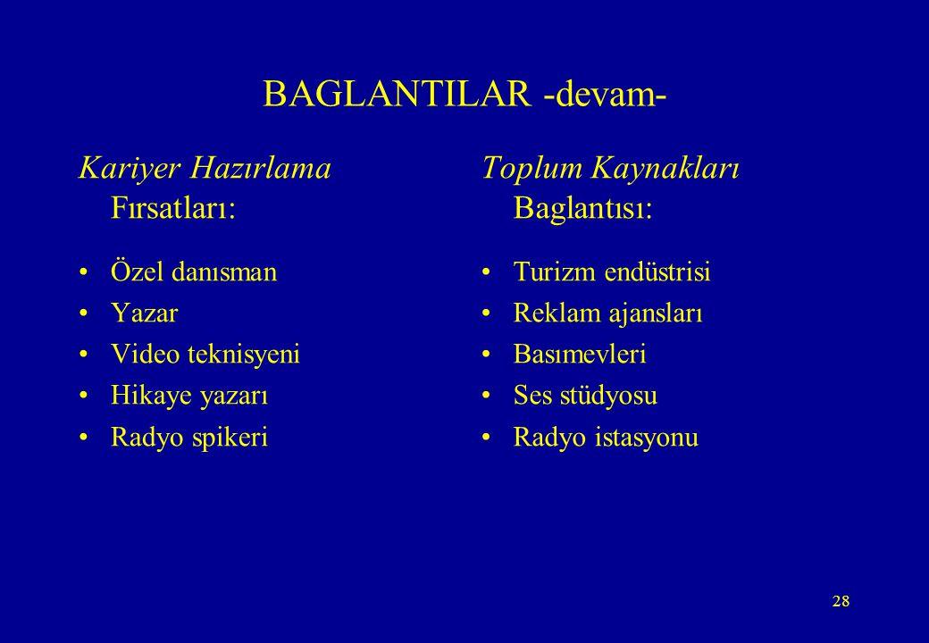 BAGLANTILAR -devam- Kariyer Hazırlama Fırsatları: