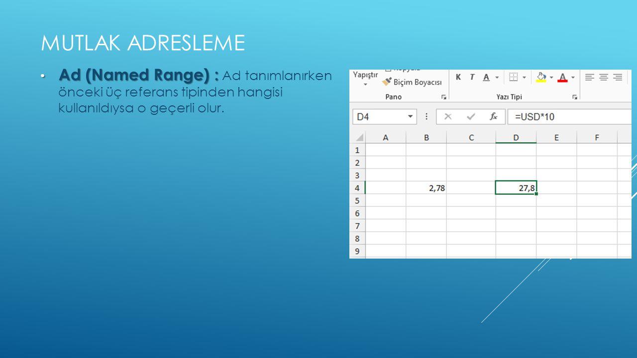 Mutlak adresleme Ad (Named Range) : Ad tanımlanırken önceki üç referans tipinden hangisi kullanıldıysa o geçerli olur.