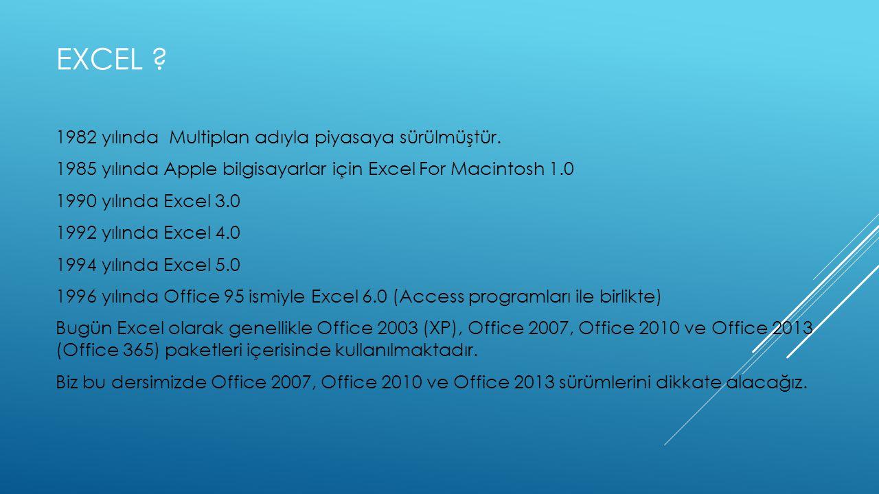 Excel 1982 yılında Multiplan adıyla piyasaya sürülmüştür.
