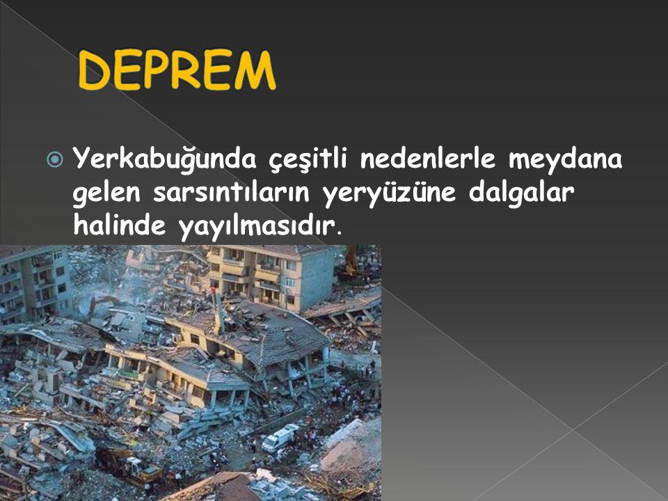 DEPREM Yerkabuğunda çeşitli nedenlerle meydana gelen sarsıntıların yeryüzüne dalgalar halinde yayılmasıdır.