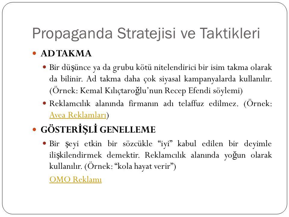 Propaganda Stratejisi ve Taktikleri