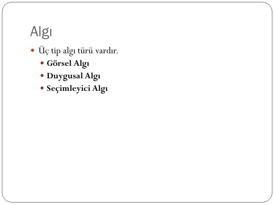 Algı Üç tip algı türü vardır. Görsel Algı Duygusal Algı