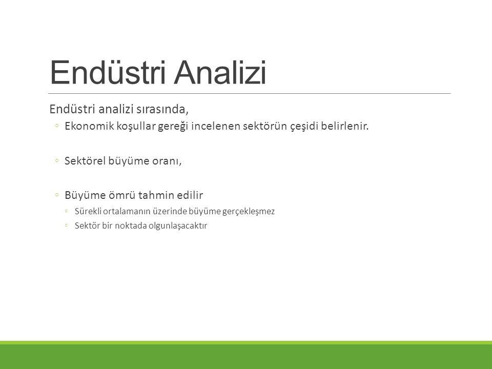 Endüstri Analizi Endüstri analizi sırasında,