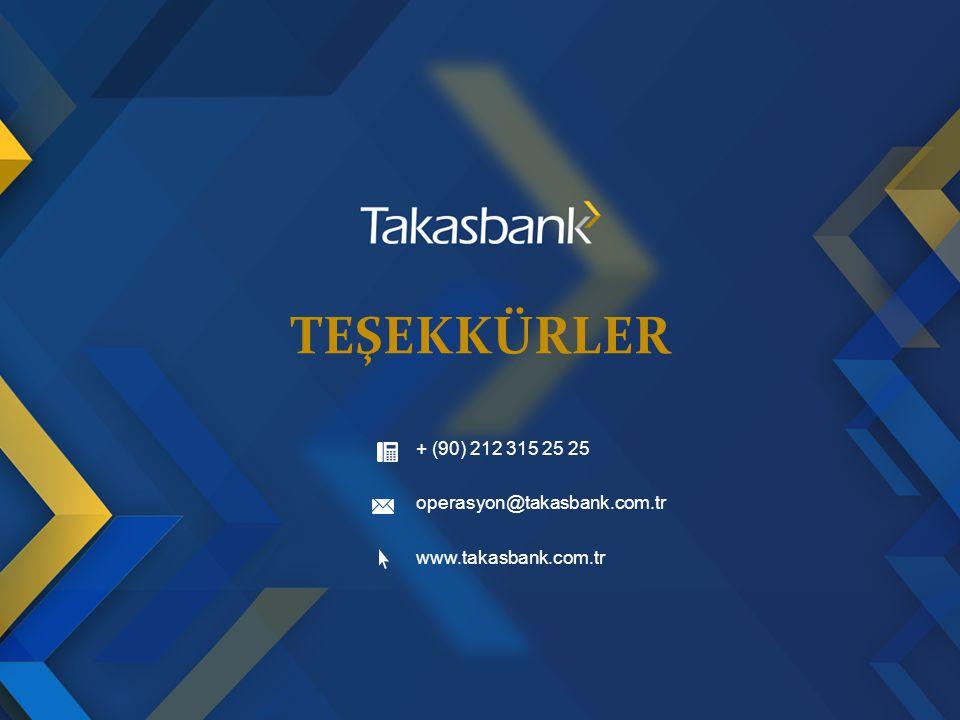 Teşekkürler + (90) 212 315 25 25 operasyon@takasbank.com.tr