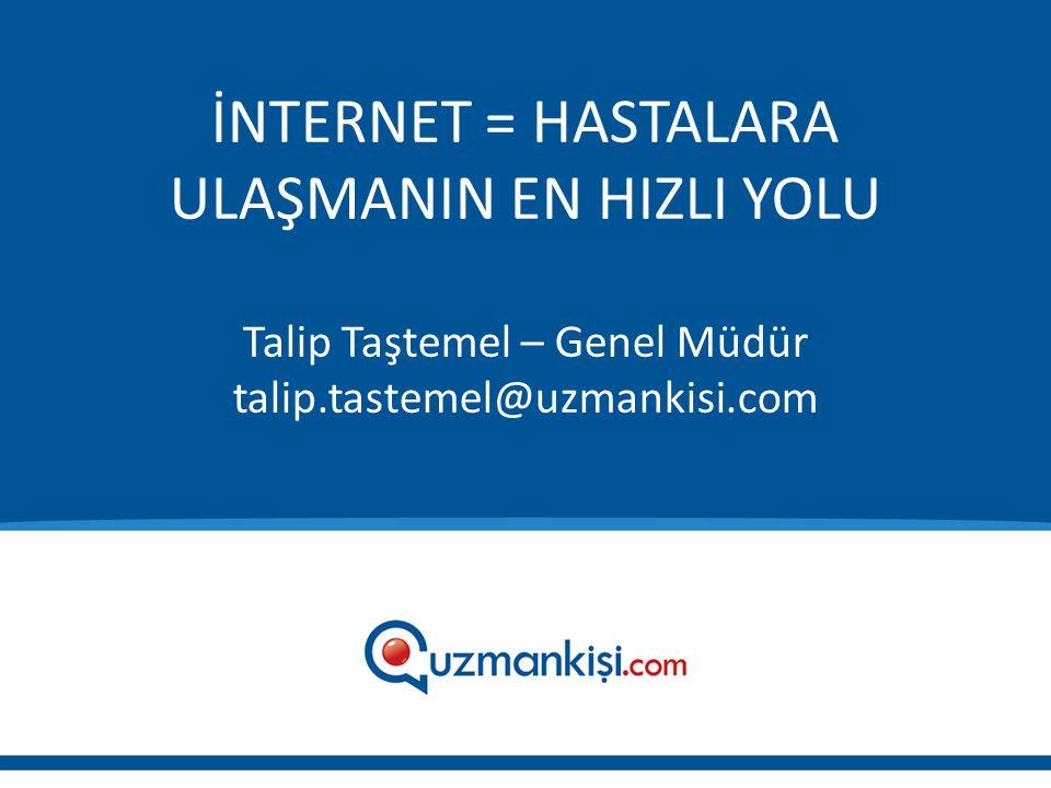 İNTERNET = HASTALARA ULAŞMANIN EN HIZLI YOLU Talip Taştemel – Genel Müdür talip.tastemel@uzmankisi.com