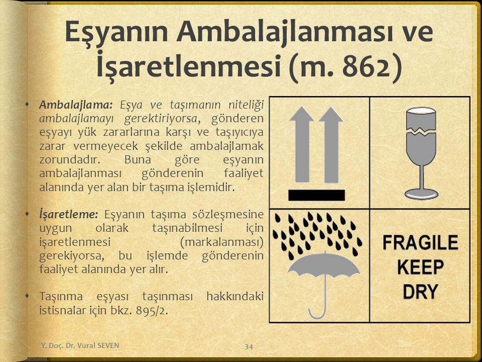 Eşyanın Ambalajlanması ve İşaretlenmesi (m. 862)