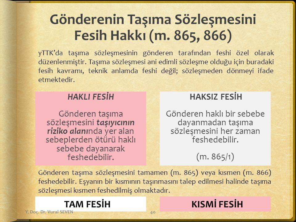 Gönderenin Taşıma Sözleşmesini Fesih Hakkı (m. 865, 866)