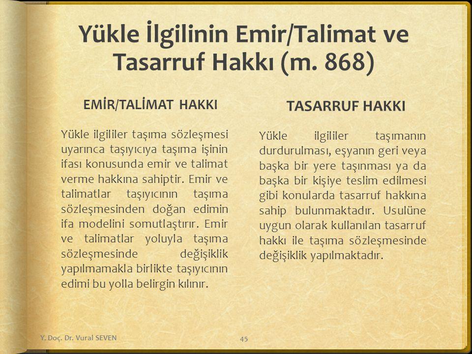 Yükle İlgilinin Emir/Talimat ve Tasarruf Hakkı (m. 868)