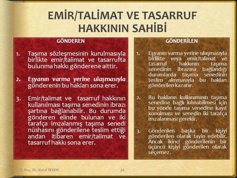 EMİR/TALİMAT VE TASARRUF HAKKININ SAHİBİ