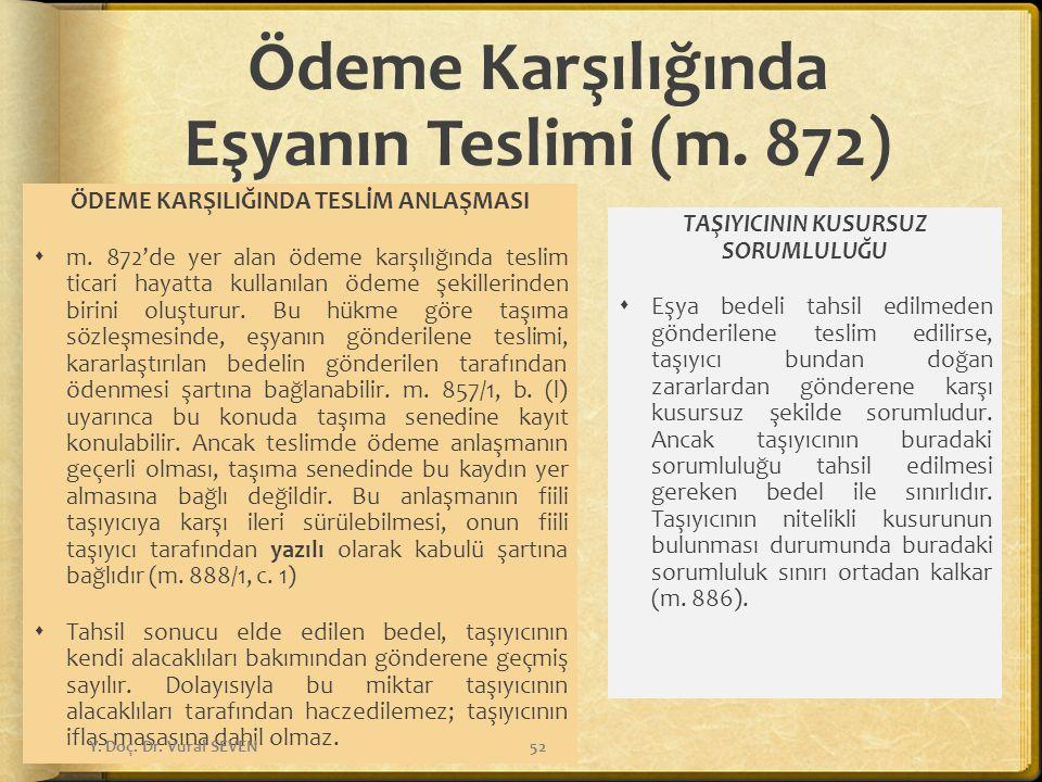 Ödeme Karşılığında Eşyanın Teslimi (m. 872)