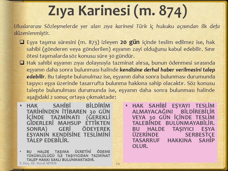 Zıya Karinesi (m. 874) Uluslararası Sözleşmelerde yer alan zıya karinesi Türk iç hukuku açısından ilk defa düzenlenmiştir.