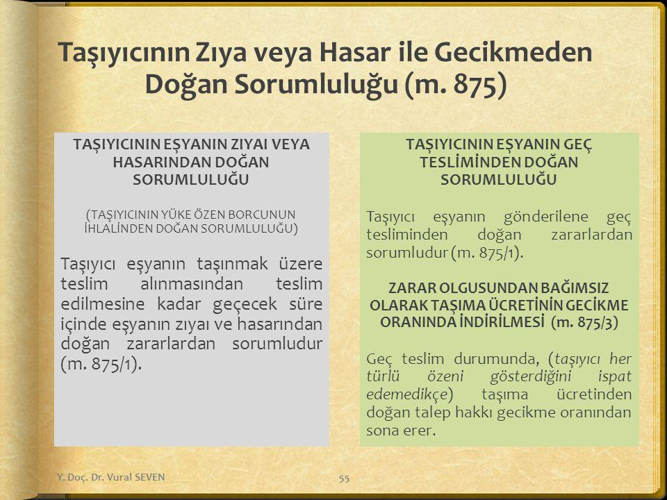 Taşıyıcının Zıya veya Hasar ile Gecikmeden Doğan Sorumluluğu (m. 875)