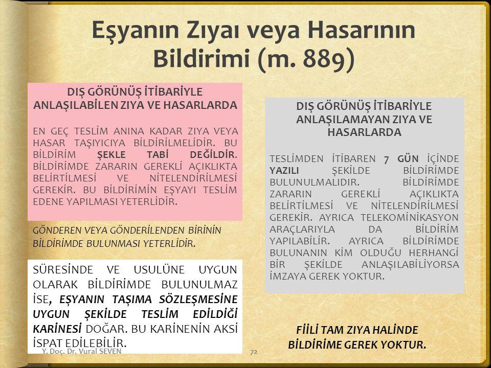 Eşyanın Zıyaı veya Hasarının Bildirimi (m. 889)