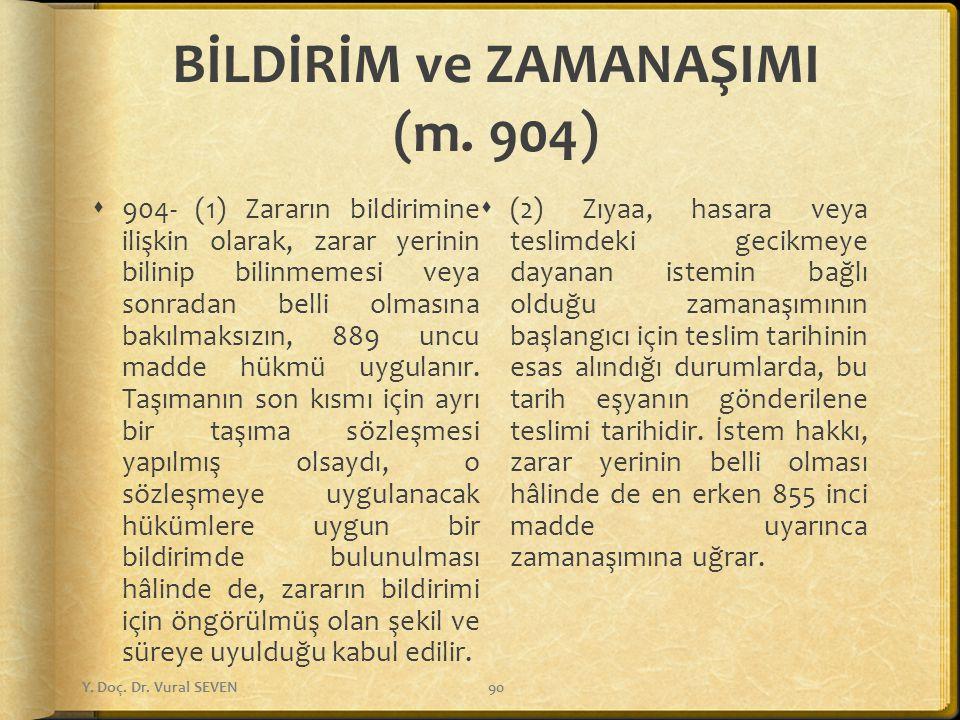 BİLDİRİM ve ZAMANAŞIMI (m. 904)