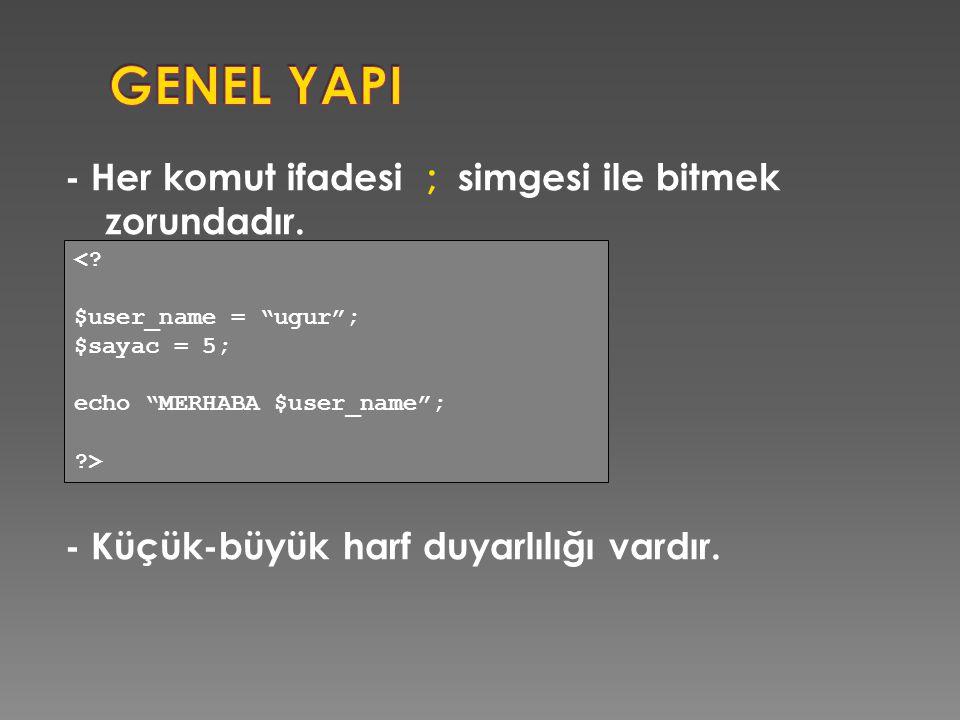 GENEL YAPI - Her komut ifadesi ; simgesi ile bitmek zorundadır. - Küçük-büyük harf duyarlılığı vardır.