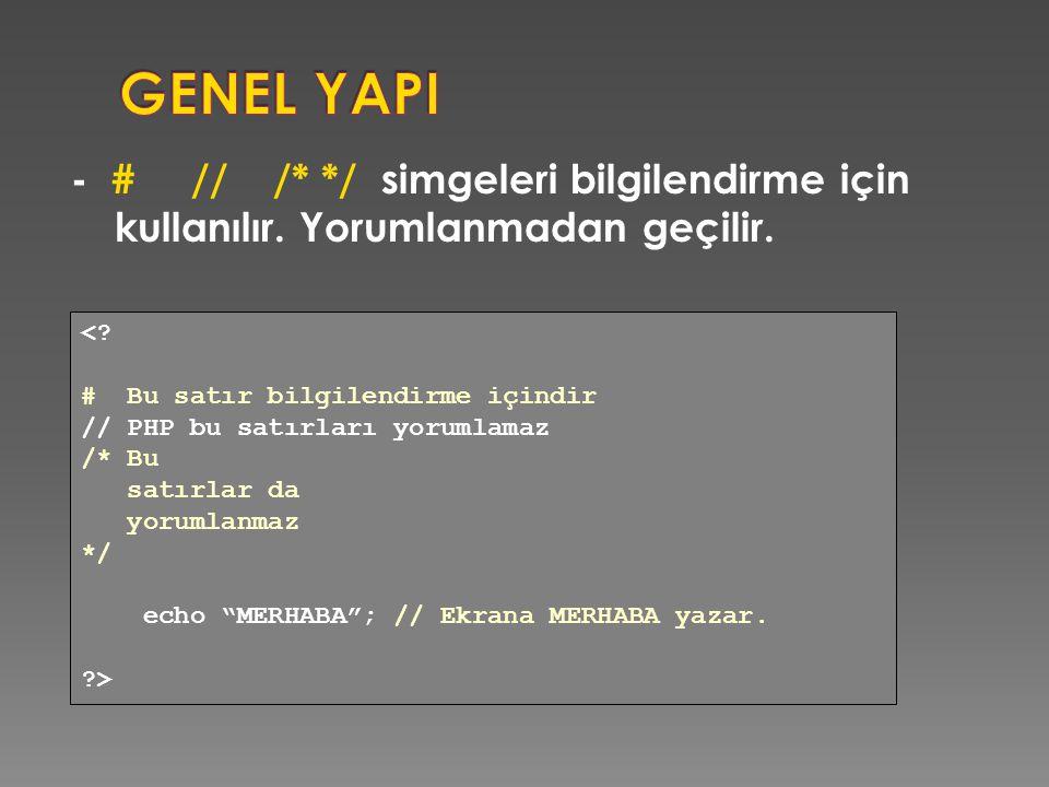 GENEL YAPI - # // /* */ simgeleri bilgilendirme için kullanılır. Yorumlanmadan geçilir. < # Bu satır bilgilendirme içindir.