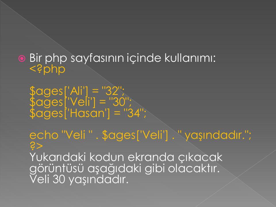 Bir php sayfasının içinde kullanımı: <