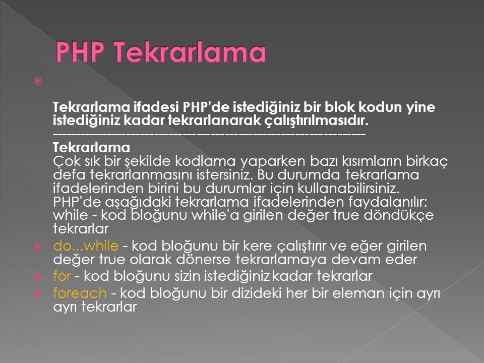 PHP Tekrarlama