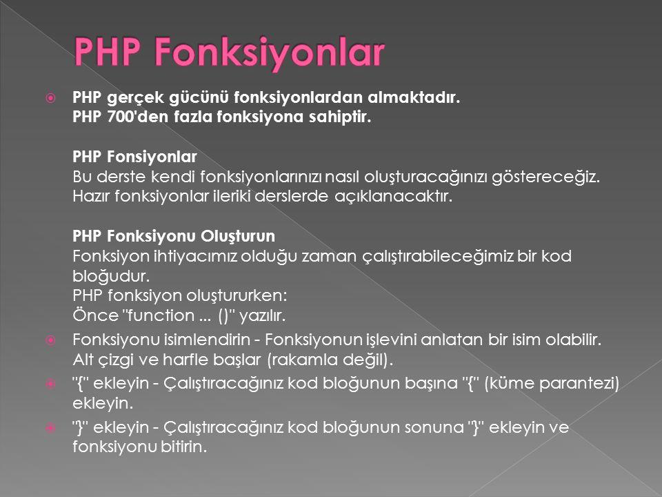 PHP Fonksiyonlar
