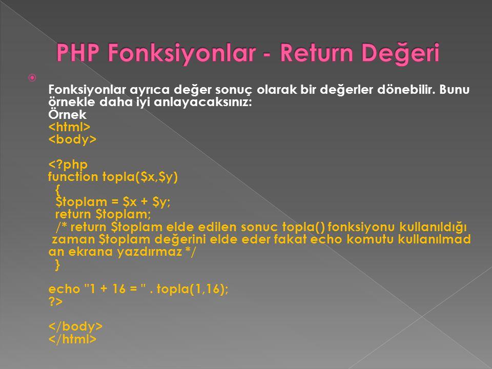 PHP Fonksiyonlar - Return Değeri