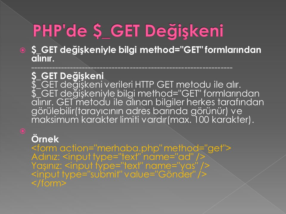 PHP de $_GET Değişkeni