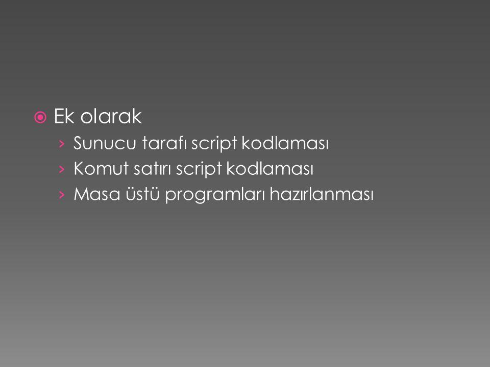 Ek olarak Sunucu tarafı script kodlaması Komut satırı script kodlaması