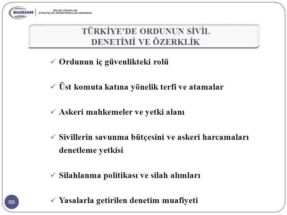 TÜRKİYE'DE ORDUNUN SİVİL DENETİMİ VE ÖZERKLİK