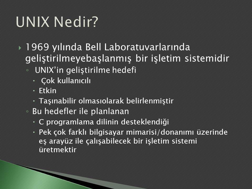 UNIX Nedir 1969 yılında Bell Laboratuvarlarında geliştirilmeyebaşlanmış bir işletim sistemidir. UNIX'in geliştirilme hedefi.