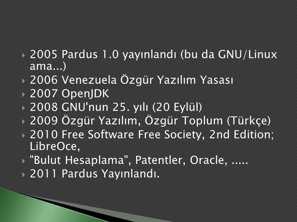 2005 Pardus 1.0 yayınlandı (bu da GNU/Linux ama...)