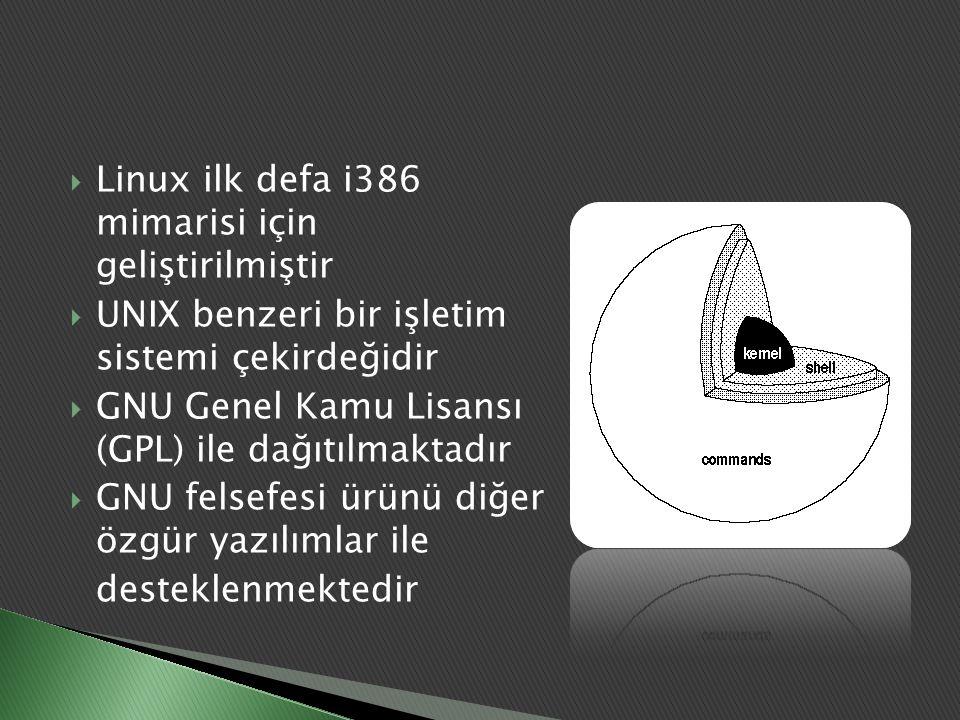 Linux ilk defa i386 mimarisi için geliştirilmiştir
