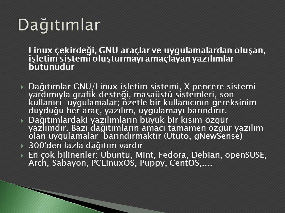 Dağıtımlar Linux çekirdeği, GNU araçlar ve uygulamalardan oluşan, işletim sistemi oluşturmayı amaçlayan yazılımlar bütünüdür.