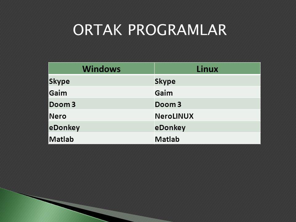 ORTAK PROGRAMLAR Windows Linux Skype Gaim Doom 3 Nero NeroLINUX
