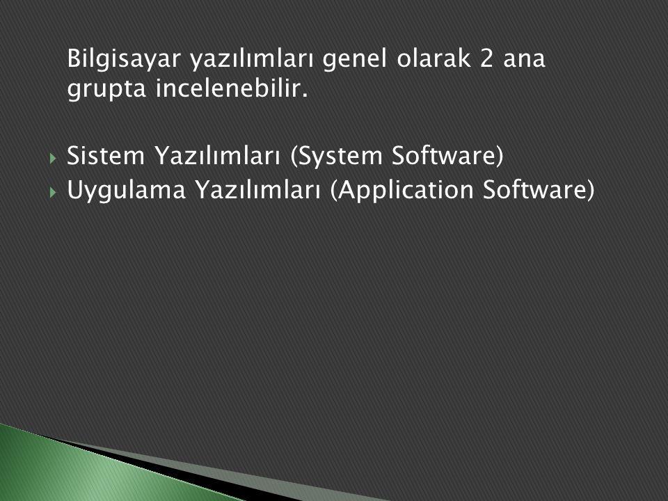 Bilgisayar yazılımları genel olarak 2 ana grupta incelenebilir.