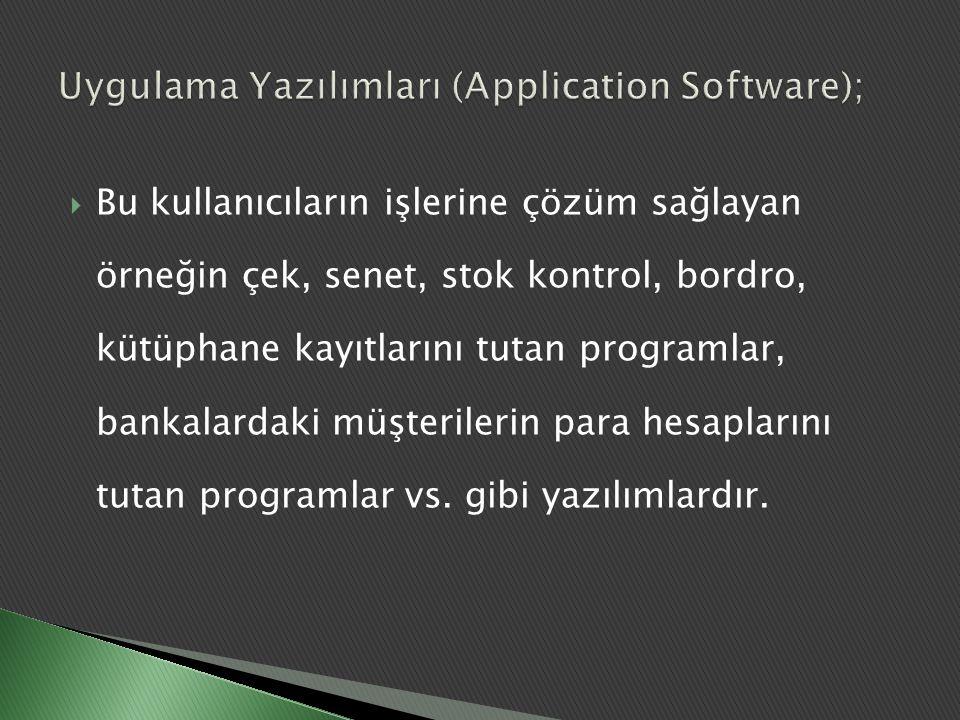 Uygulama Yazılımları (Application Software);