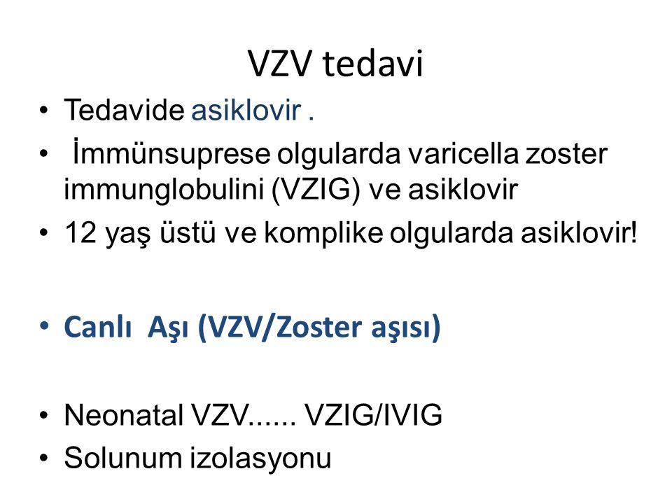 VZV tedavi Canlı Aşı (VZV/Zoster aşısı) Tedavide asiklovir .