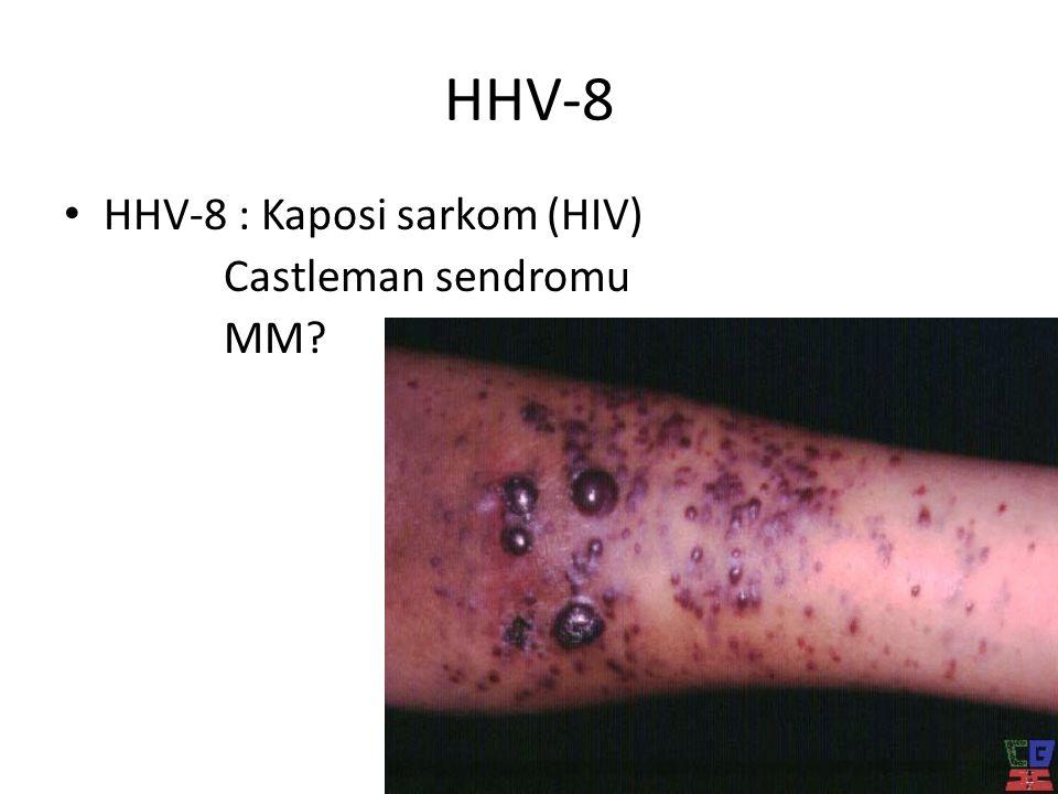 HHV-8 HHV-8 : Kaposi sarkom (HIV) Castleman sendromu MM