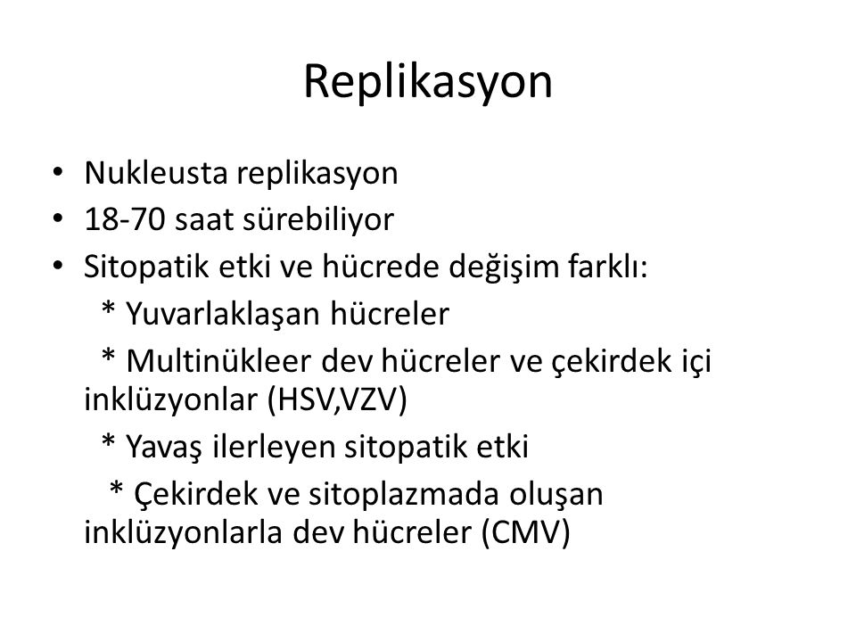 Replikasyon Nukleusta replikasyon 18-70 saat sürebiliyor