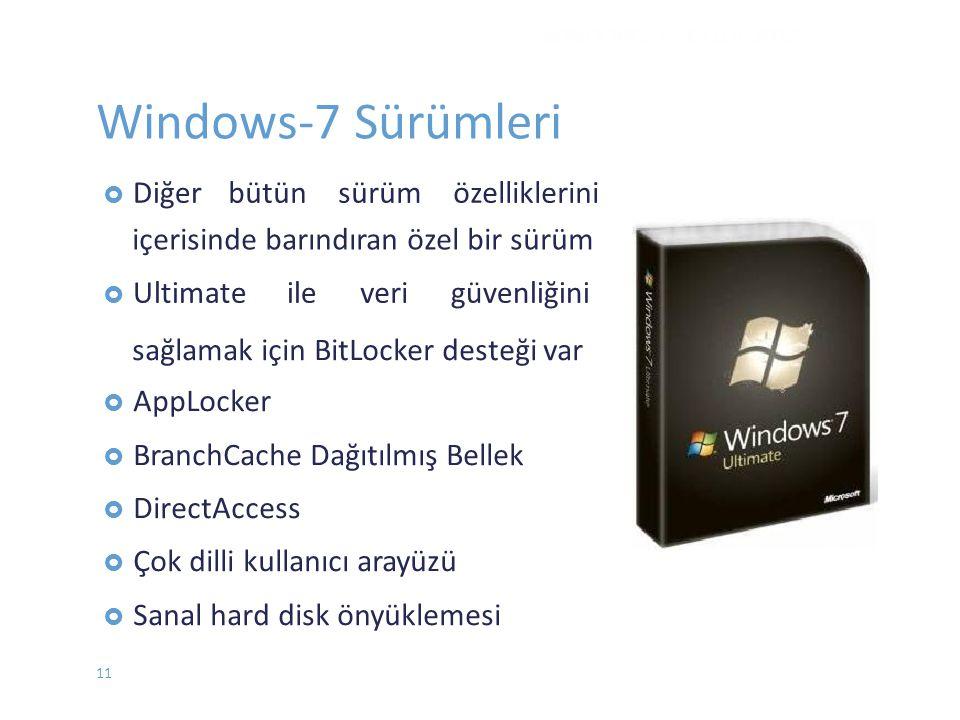 Windows-7 Sürümleri bütün sürüm özelliklerini