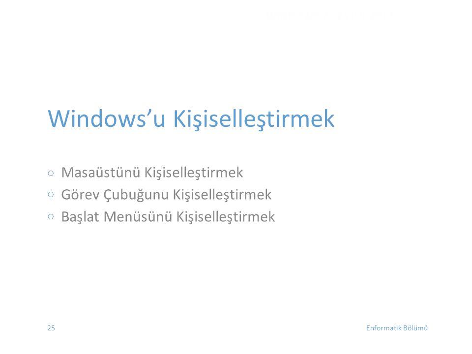 Windows'u Kişiselleştirmek