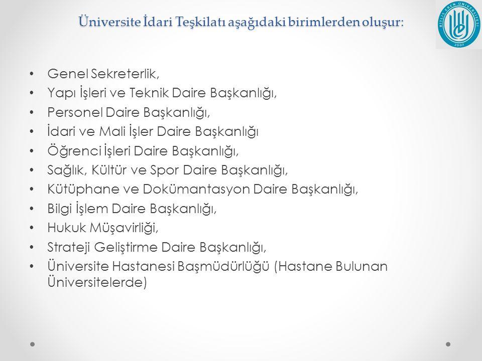 Üniversite İdari Teşkilatı aşağıdaki birimlerden oluşur: